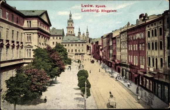 Ak Lwów Lemberg Ukraine, Rynek, Ringplatz, Geschäftshäuser, Straße