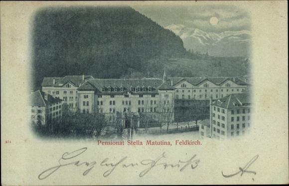 Mondschein Ak Feldkirch in Vorarlberg, Pensionat Stella Matutina