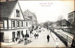 Ak Schmölln Thüringen, Bahnhofstraße, Passanten, Klempnerei Karl Köhler