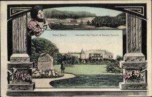 Passepartout Ak Dłużek Dolzig Lubsko Sommerfeld Ostbrandenburg, Schloss, Geburtsstätte der Kaiserin