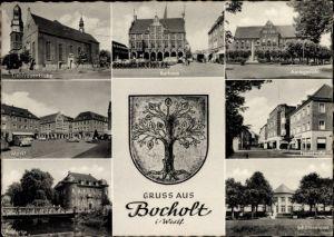 Wappen Ak Bocholt Münsterland, Liebfrauenkirche, Rathaus, Amtsgericht, Neustraße, Schützenhaus