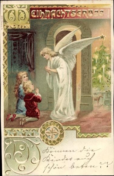 Ak Frohe Weihnachten, Engel, Kinder betend, Weihnachtsbaum