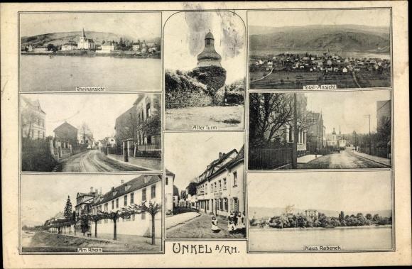 Ak Neustadt an der Wied, Rheinansicht, Haus Rabenek, Totale, Straßenpartie, Alter Turm