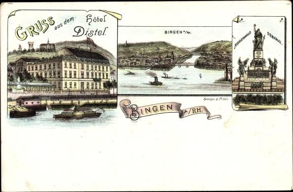 Litho Bingen am Rhein, Hotel Distel, Niederwalddenkmal