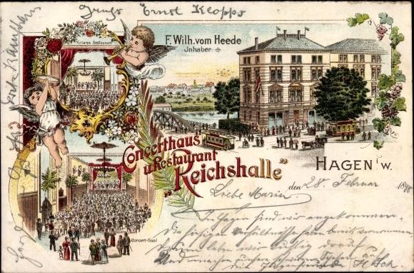 Litho Hagen in Westfalen, Konzerthaus und Restaurant Reichshalle, Inh. F. Wilh. v. Heede