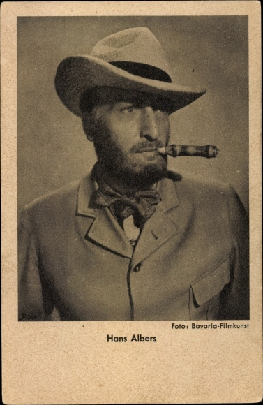 Ak Schauspieler Hans Albers, Portrait, Hut, Zigarre