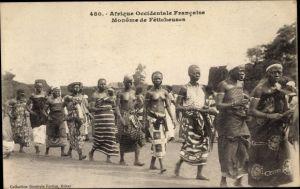 Ak Afrique occidentale francaise, Monôme de Féticheuses, Afrikanerinnen