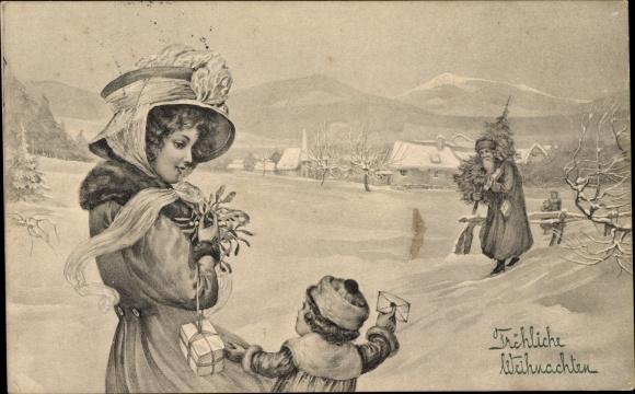 Ak Frohe Weihnachten, Weihnachtsmann, Mutter mit Kind