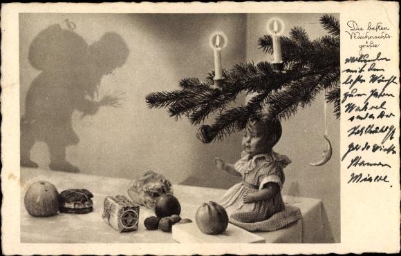 Ak Frohe Weihnachten, Geschenke, Puppe, Äpfel, Nüsse, Weihnachtsmann, Tannenzweig