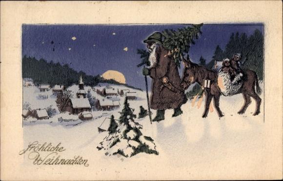 Ak Frohe Weihnachten, Weihnachtsmann, Tanne, Esel