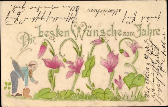 Präge Ak Glückwunsch Neujahr, Jahreszahl 1903, Zwerg