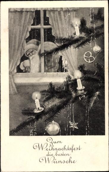 Ak Frohe Weihnachten, Weihnachtsmann am Fenster, Tannenbaum
