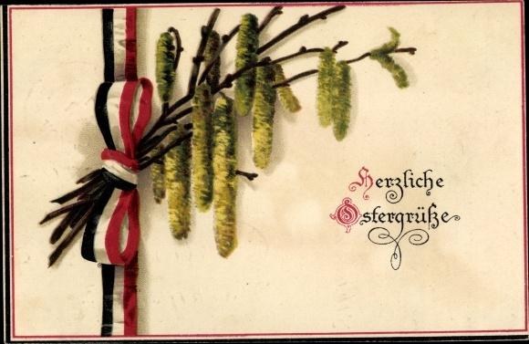 Ak Glückwunsch Ostern, Weidenkätzchen, Patriotik Kaiserreich