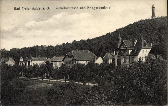 Ak Bad Freienwalde an der Oder, Wilhelmstraße und Kriegerdenkmal