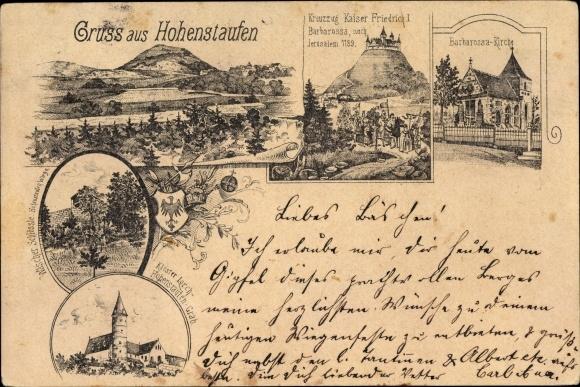 Vorläufer Litho Göppingen BW, Hohenstaufen, Kreuzzug Kaiser Friedrich I. Barbarossa 1189