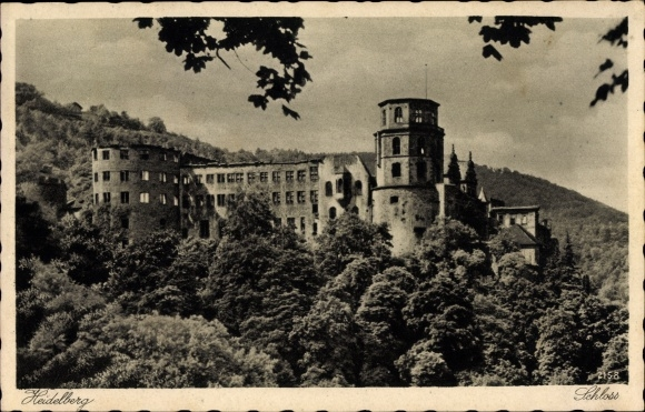 Ak Heidelberg am Neckar, Ausgebranntes Schloss