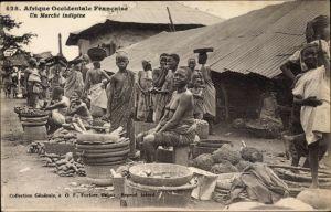 Ak Afrique occidentale francaise, Un marché indigène, Markt