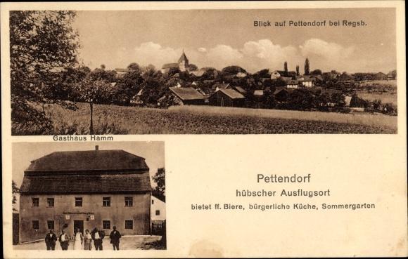 Ak Pettendorf Oberpfalz, Gasthaus Hamm, Totalansicht vom Ort