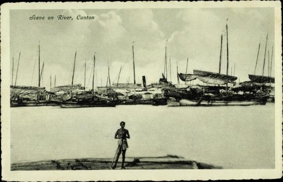 Ak Canton Kanton Guangzhou China, Scene on River, Flusspartie