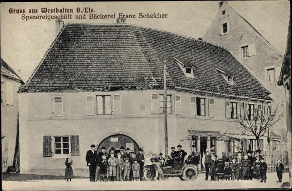 Ak Westhalten Elsass Haut Rhin, Spezereigeschäft und Bäckerei Franz Schelcher