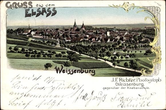 Litho Wissembourg Weißenburg Elsass Bas Rhin, Panorama, Photograph J.F. Richter