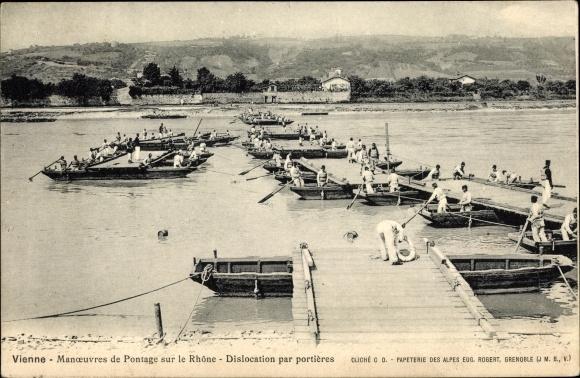 Ak Vienne Isère, Pontage sur le Rhône, Dislocation par portières, Pioniere, Schiffbrücke