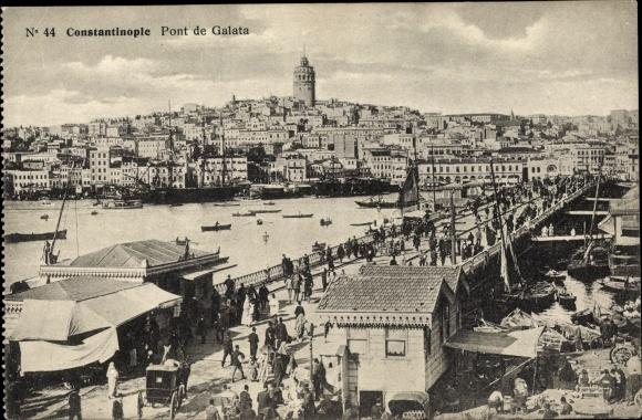 Ak Konstantinopel Istanbul Türkei, Pont de Galata, Brücke, Stadtpanorama