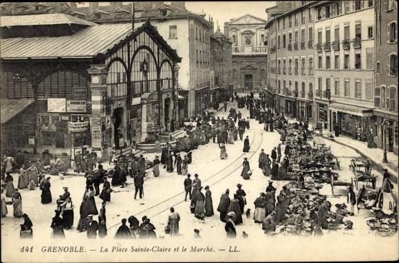 Ak Grenoble Isère, La Place Sainte Claire et le Marché, Levy & Fils 141
