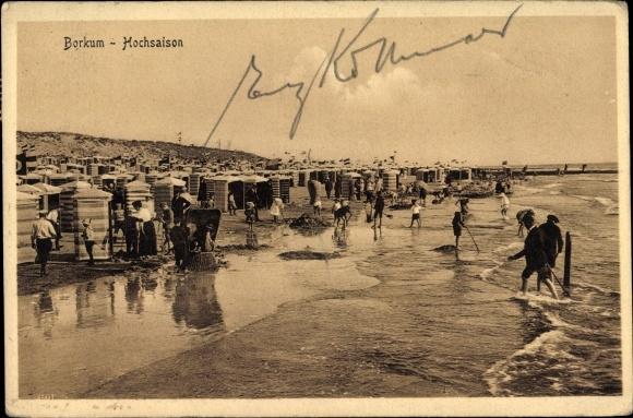 Ak Insel Borkum Ostfriesland, Hochsaison, Strandleben, Zelte, spielende Kinder, Sandburgen