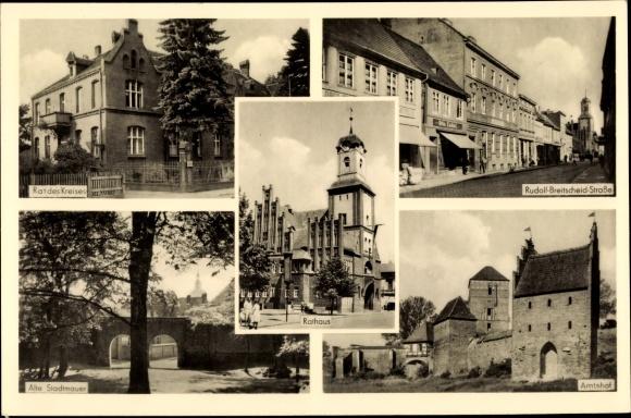 Ak Wittstock Dosse in der Ostprignitz, Rathaus, Rat des Kreises, Amtshof, Stadtmauer