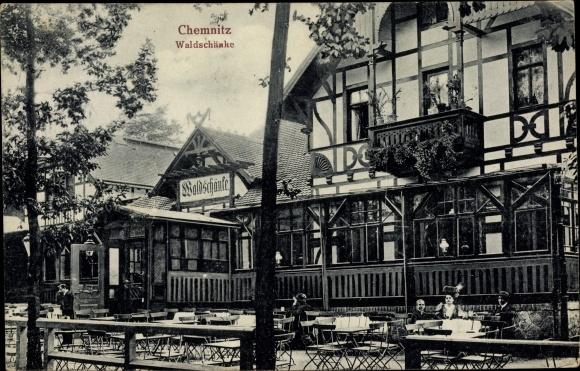 Ak Chemnitz Sachsen, Waldschänke, Terrassenpartie
