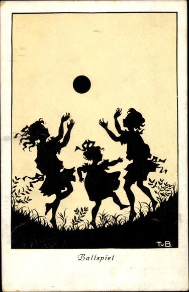 Scherenschnitt Ak Baumgarten, Tilly von, Ballspiel, spielende Kinder