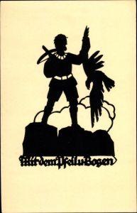 Scherenschnitt Künstler Ak Schwindt, A. M., Mit dem Pfeil und Bogen, Schütze mit Greifvogel