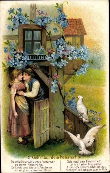 Präge Litho Geh mach dein Fensterl auf, Liebespaar, Kuss, Vergissmeinnicht, weiße Tauben
