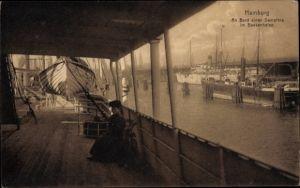 Ak Hamburg, An Bord eines Dampfers im Baakenhafen