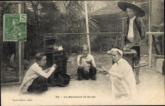 Ak Saigon Cochinchine Vietnam, Un Marchand de Soupe, Suppenhändler