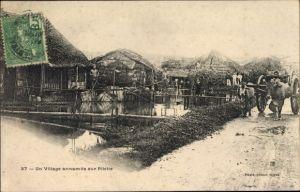 Ak Vietnam, Un Village annamite sur Pilotis, Boeufs