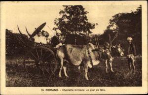 Ak Birmanie Myanmar Burma, Charrette birmane un jour de fête, Rinderkarren