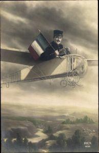 Ak Frankreich, Soldat in einem Flugzeug, Fotomontage