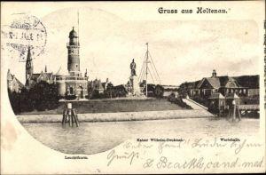 Ak Kiel Holtenau in Schleswig Holstein, Kaiser Wilhelm Denkmal, Uferpartie, Leuchtturm, Wartehalle