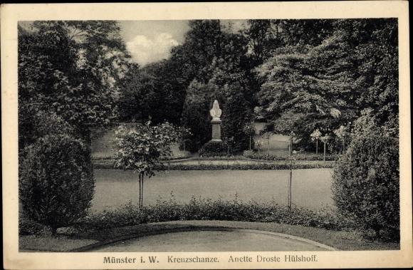 Ak Münster in Westfalen, Kreuzschanze, Anette Droste Hülshoff