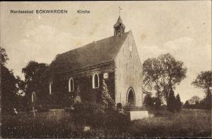 Ak Eckwarden Butjadingen in Niedersachsen, Kirche und Friedhof