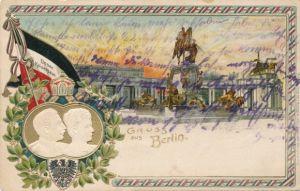 Präge Litho Berlin Mitte, Kaiser Wilhelm Denkmal, Kaiser Wilhelm II., Kaiserin Auguste Viktoria