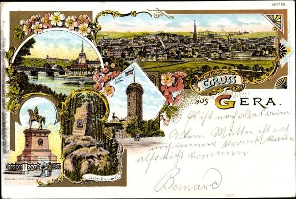 Litho Gera Thüringen, Ferberturm, Schloss Osterstein, Kaiser Wilhelm Denkmal, Liebe Denkmal