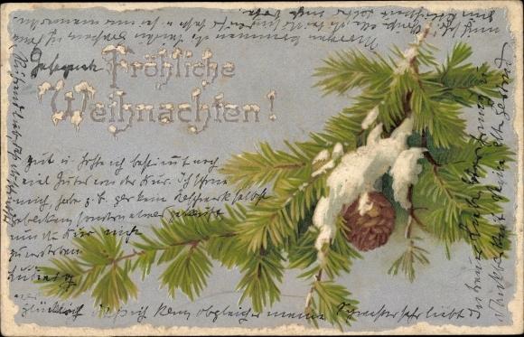 Präge Winter Ak Frohe Weihnachten, Tannenzweig