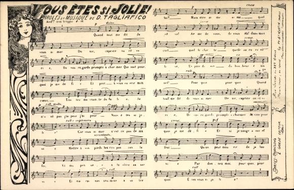 Lied Ak Vous étes si jolie, Paroles et Musique de D. Tagliafico