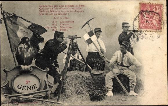 Ak 2e Génie, Crée en 1814, Französische Soldaten, Pioniere, Nivelliergerät, Spitzhacke