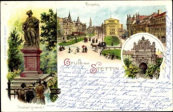 Litho Szczecin Stettin Pommern, Königsplatz, Denkmal Friedrich II., Berliner Tor