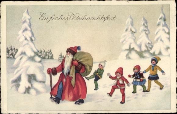 Weihnachten Kinder.Ak Frohe Weihnachten Weihnachtsmann Kinder