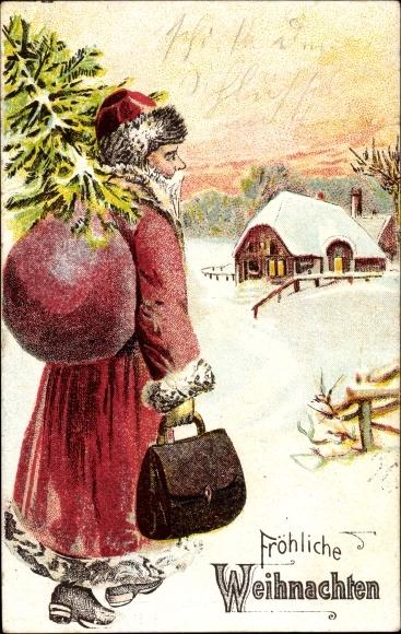 Ak Frohe Weihnachten, Weihnachtsmann mit Tanne